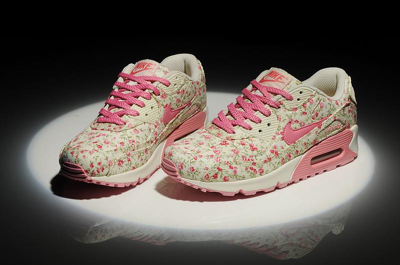check out 51b78 f4ef1 Feyamagic [62458386] Nike Air Max 90 Fleurs Femme Peach Pas Cher